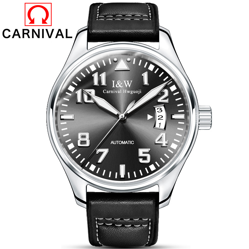 Carnival Top Luxury Brand Watches Automatic Clock Men Mechanical Watch Black Leather Strap 30m Water Resistant relogio masculino ultra luxury 2 3 5 modes german motor watch winder white color wooden black pu leater inside automatic watch winder