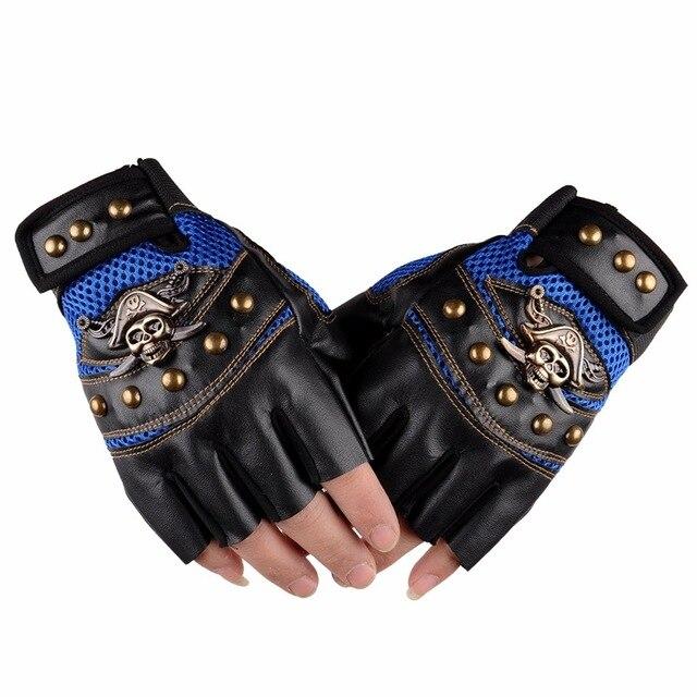 Leather Skull Biker Gloves  3