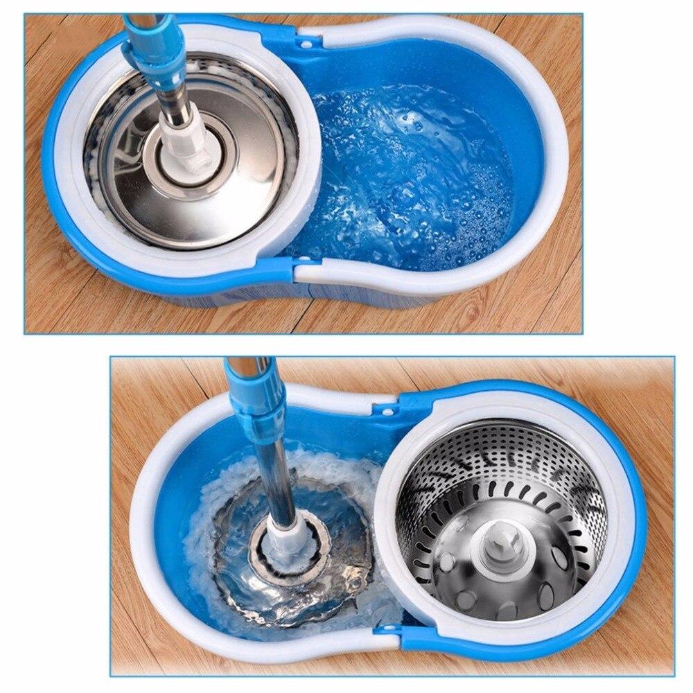 Spin Mop Mop di Rotazione e Secchio Set di Ruote e 4 Teste Intelligente di Pulizia In Microfibra Mop Pavimenti Finestre Casa Cucina A 360 Gradi - 6