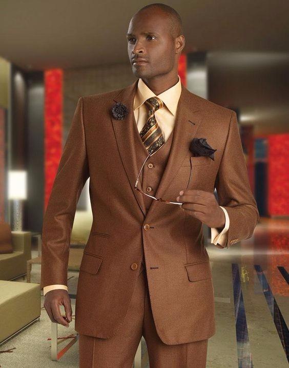 2017 Latest Coat Pant Designs Dark Brown Men Suit Terno Slim Fit 3 ...