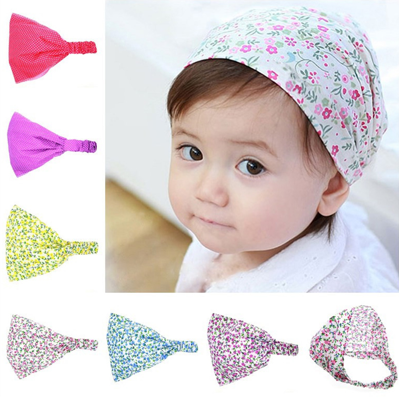 Floral Spring Summer Baby Hat Cotton Girl Boy Cap Children Headbands Toddler Kids   Headwear   Hats Newborn Head Scarf Accessories