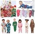 Crianças meninos e meninas velo Siamese escalada roupas com pé quente pijama collant bebê saco Romper peido subida longa