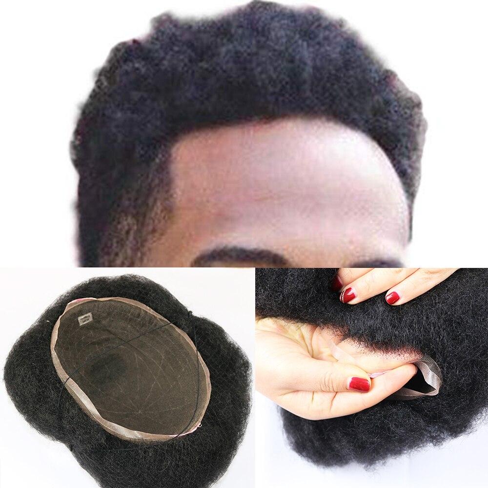 SimBeauty  Brazilian Virgin Human Hair Afro Curl Toupee 9.5x7.5inch For Black Men With Men Hair System Human Hair #1 Jet Black