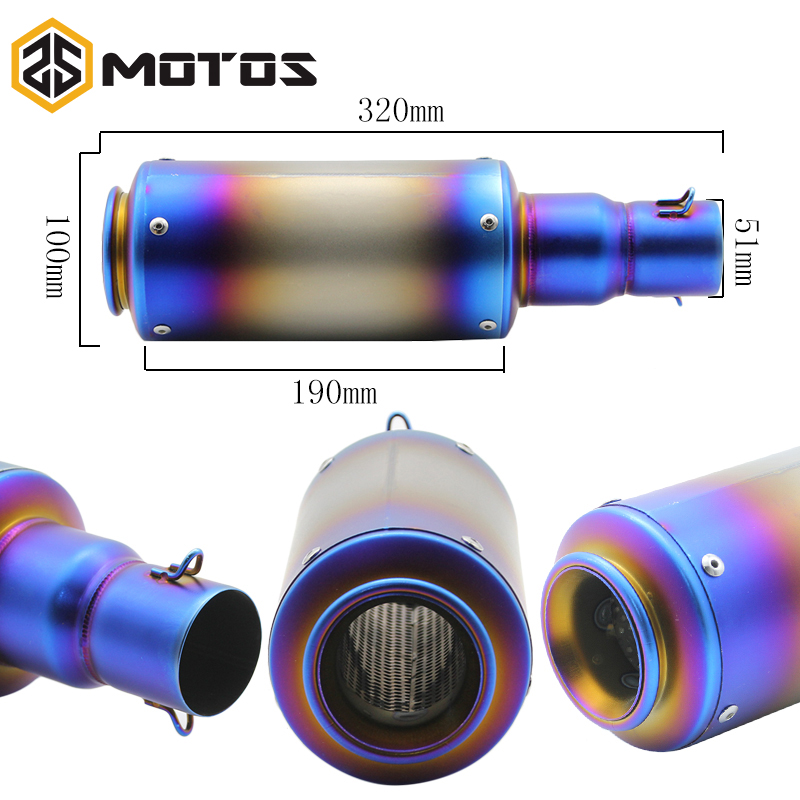 ZS MOTOS Universal GY6 Motorcycle Scooter Modified exhaust silencer Muffler exhaust pipe CBR125 250 CB400 CB600 YZF FZ400 Z750
