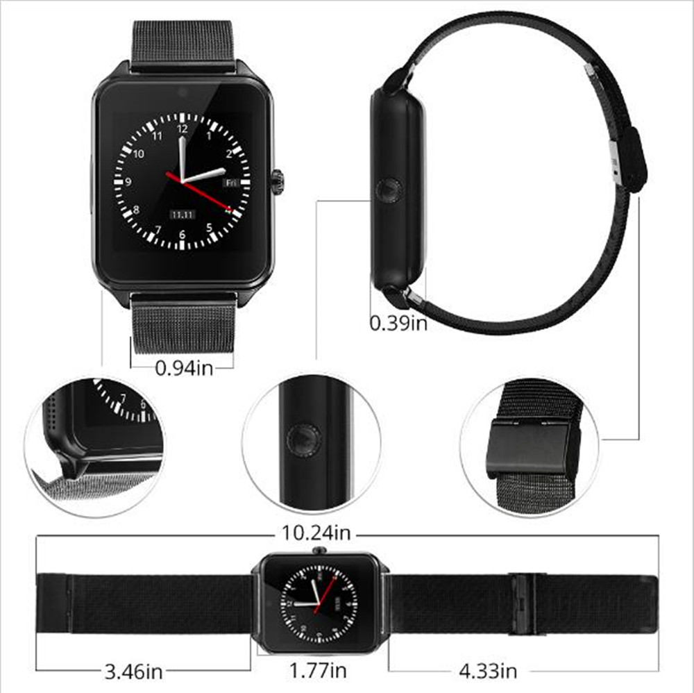 New Fashion Smart Watch Metal Strap Bluetooth Men Wrist Smartwatch Support Sim TF Card Android IOS Watch Multi languages PK S8 in Smart Watches from Consumer Electronics