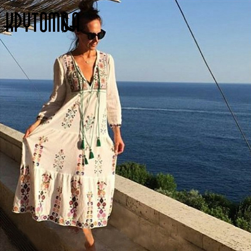 Vintage Boho Chic Floral Embroidered Tassel Maxi Dress Women 2018 New Fashion Summer Beach Long Dresses Casual Femme Vestidos