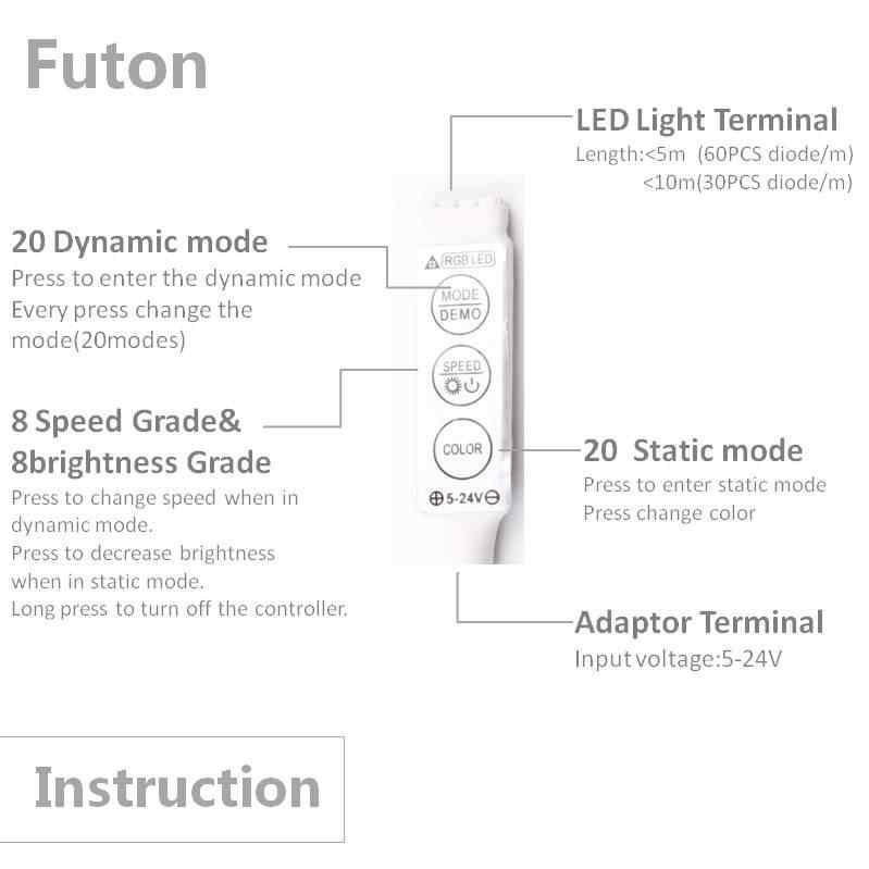 DC 5 ~ 24 V управляемая RGB Светодиодная лента 3 ключа Женский штекер переключатель контроллер для SMD5050/2835 Светодиодный свет