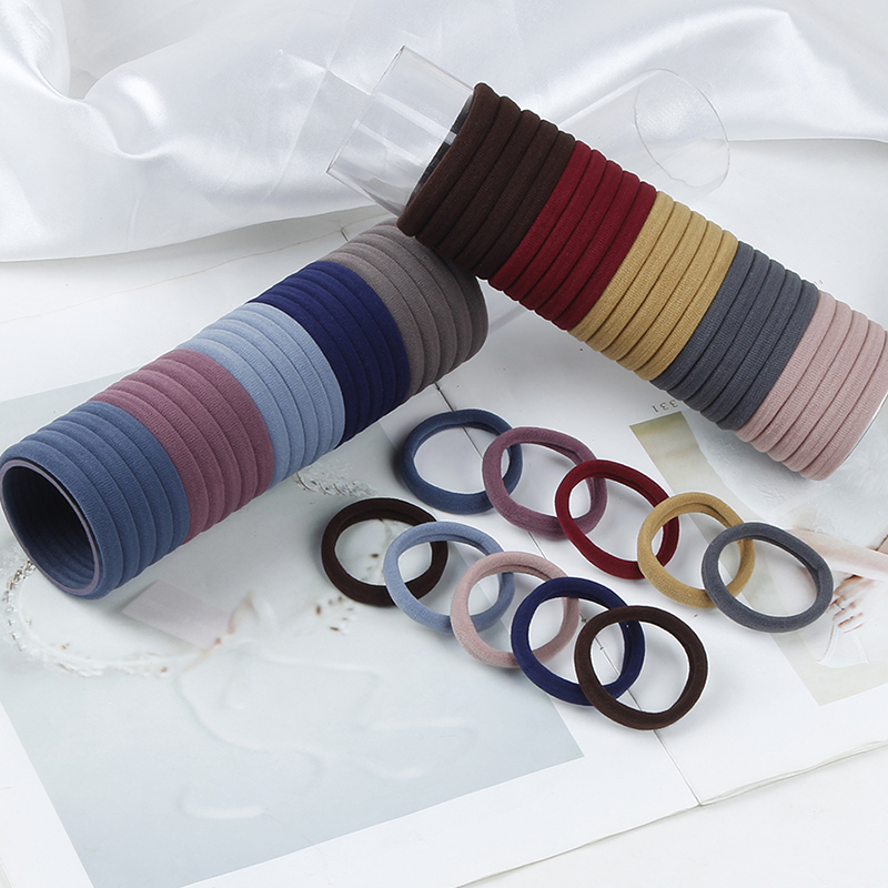 100 Pcs set Korean Simple Dark Color Seamless Elastic Hair Bands Women Fashion Hair Accessories Wholesale Ponytail Holder in Women 39 s Hair Accessories from Apparel Accessories