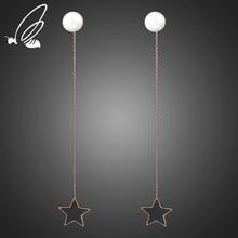 купить S'Steel New Fashion Jewelry Office Punk Star Draped Dangle Circle Titanium Stainless Steel Statement Drop Earrings For Women по цене 210.37 рублей