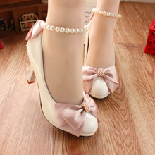 Pink Party Prom Shoes Bow Round Toe Beading Ankle Strap Bridesmaid Shoes White Wedding Shoes Pumps High Heels Bridal Shoes(China)