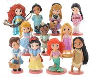 11pcs/set Moana Snow White Merida Princess Action Figures Mulan Mermaid Tiana Jasmine Dolls Anime Figurines Kids Toys gifts