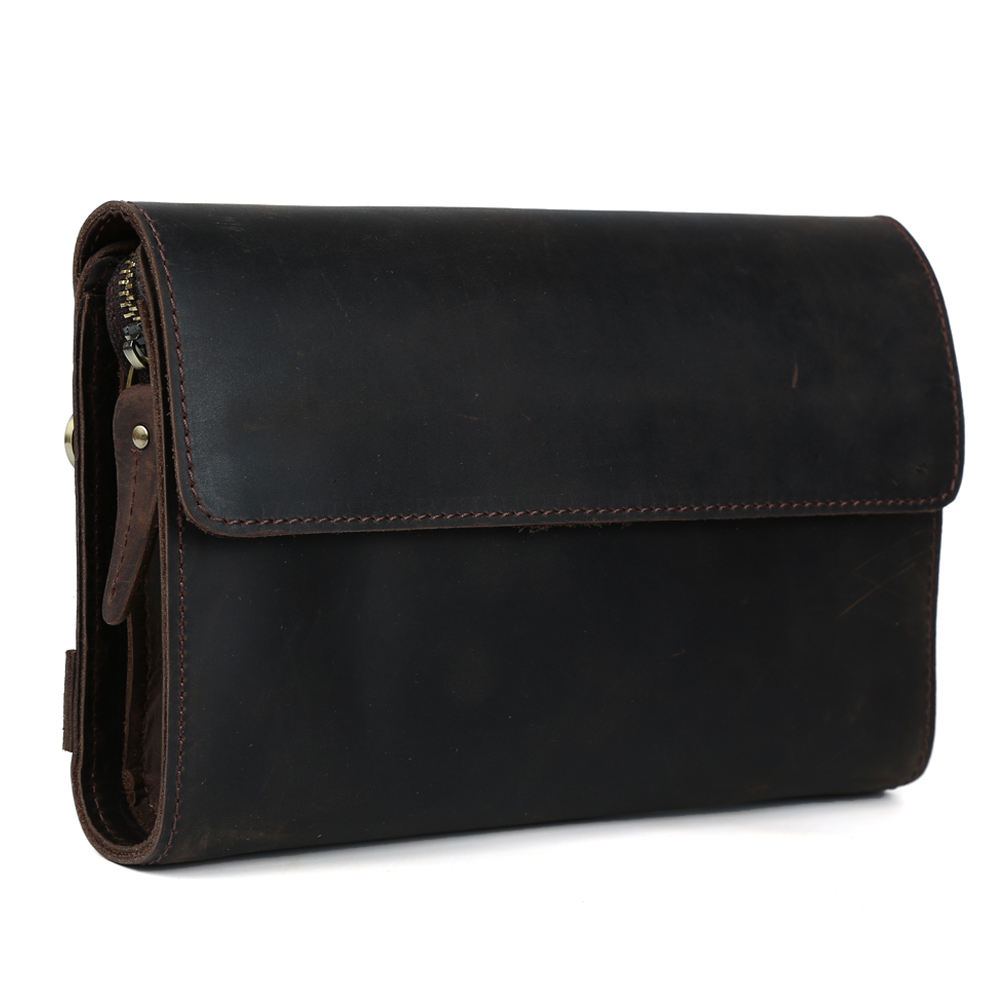 TIDING fashion new clutches vintage style genuine leather business small handbag long wallet for men women 4062