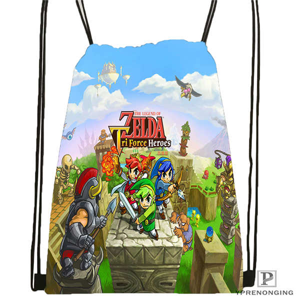 Custom The-Legend-Of-Zelda Drawstring Backpack Bag Cute Daypack Kids Satchel (Black Back) 31x40cm#180611-01-35