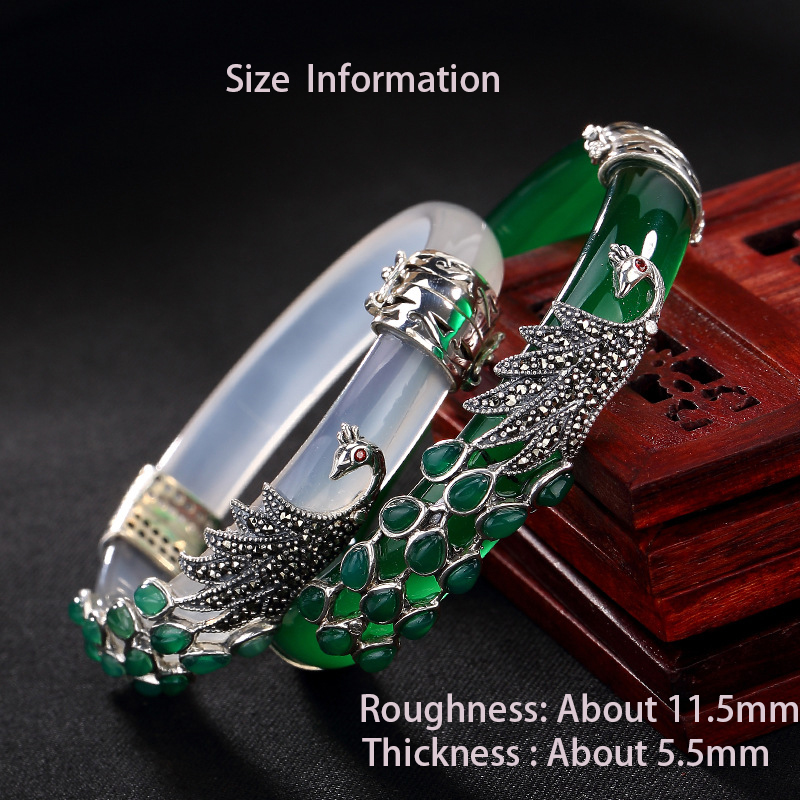 BALMORA stałe 925 Sterling Silver chalcedon paw zwierząt bransoletka dla kobiet prezent Thai srebrny moda biżuteria w stylu Vintage w Bransoletki od Biżuteria i akcesoria na  Grupa 2