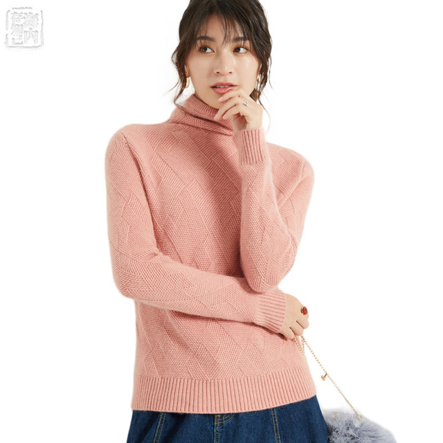 Women's Turtleneck Liberal Collar Wool Cashmere Sweater Jumper Ribbed Pullover Soft Sweater Famale  Autumn Winter Sweaters w7163