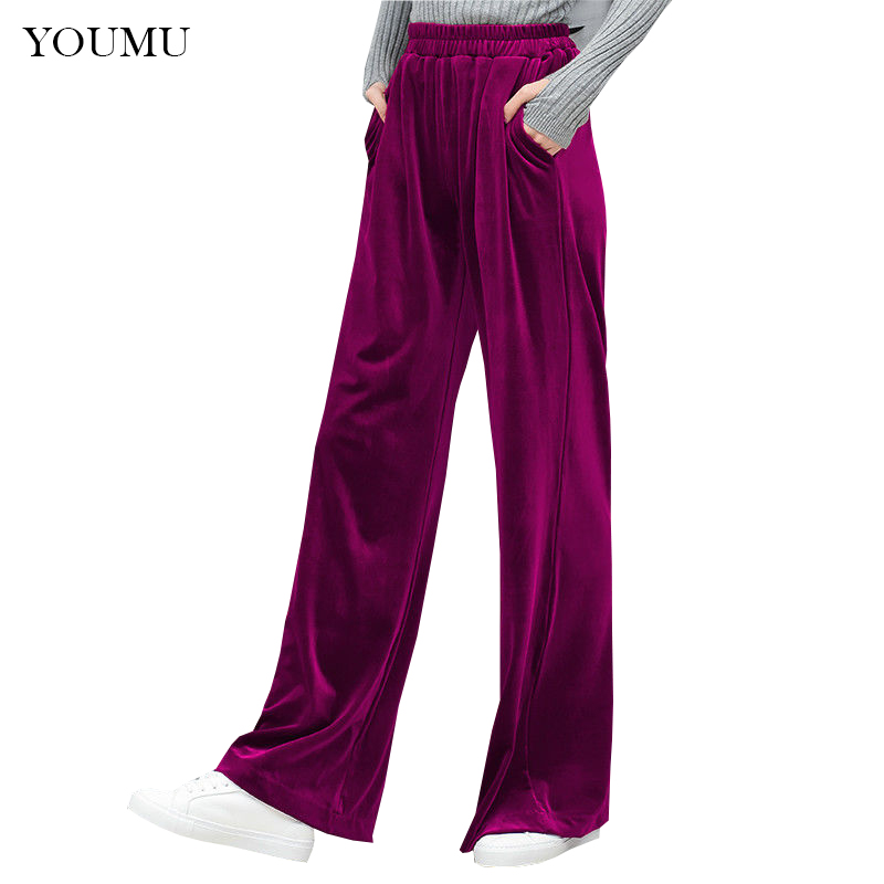Women Wide Leg Pants Velvet Oversize Ladies Palazzo Baggy Elastic Waist Trousers Fashion Wide Leg Casual Pants 912-091