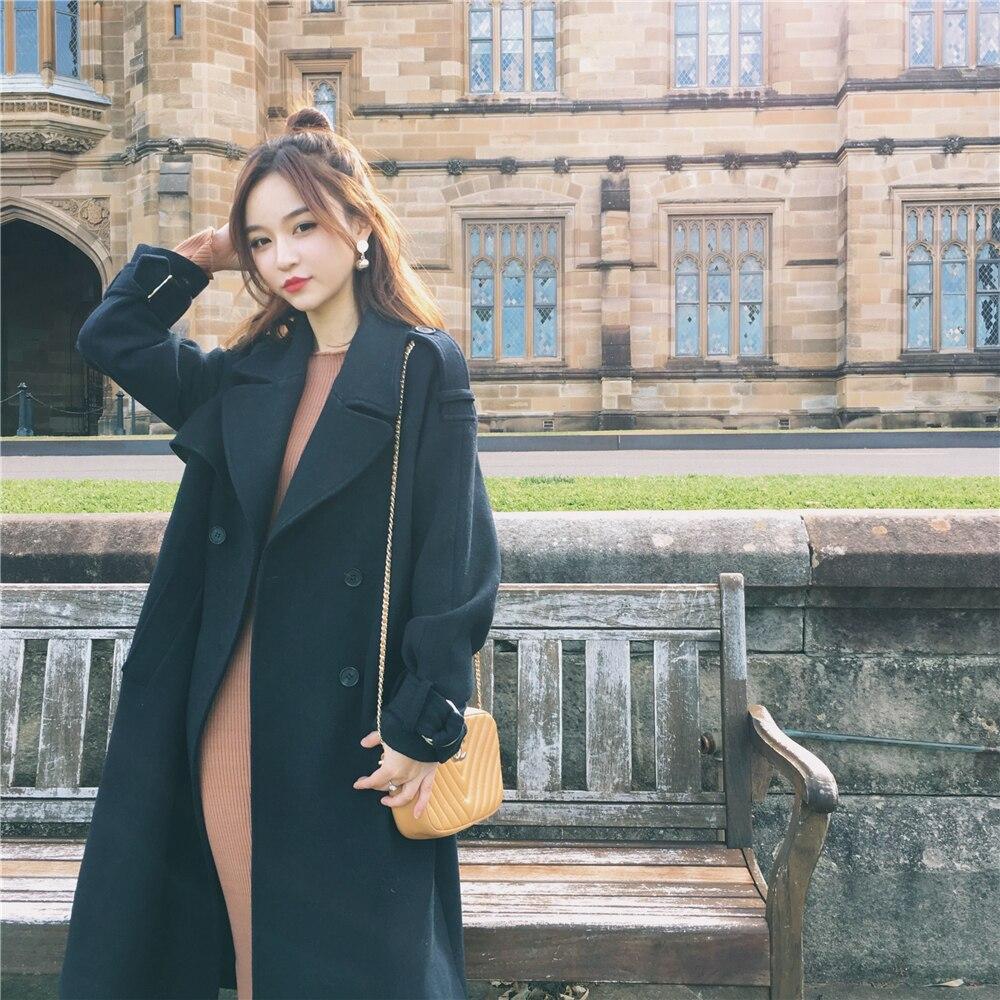 Hiver Khaki Long Chaud Lady D201 Femelle Cachemire Manteau Épais Veste Nouveau Élégant 2016 Laine Automne Feminino Casaco navy Européenne Femmes CPpwSfUq