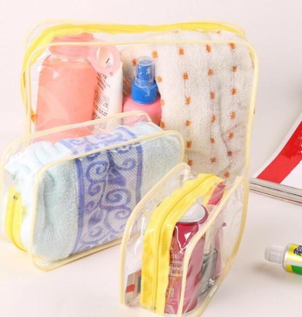 eTya Travel PVC Cosmetic Bags Women Transparent Clear Zipper Makeup Bags Organizer Bath Wash Make Up Toiletry Pouch 1