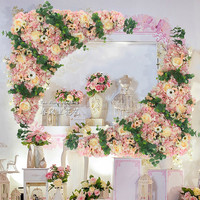 1.2m x 1.2m pink Roses with grass Wedding Flower Wall Artifical Silk Flower Backdrop Wedding props 2 pcs/lot