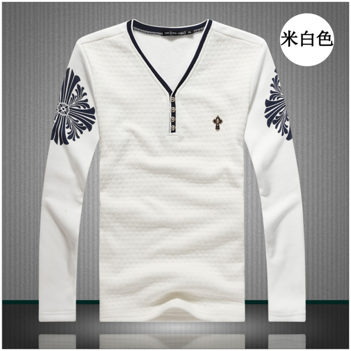 2015 Fashion Men T Shirts V Neck Buttons Full Sleeve Geometric Print Metal Badge Tops Cool In From Mens Clothing Accessories On Aliexpress