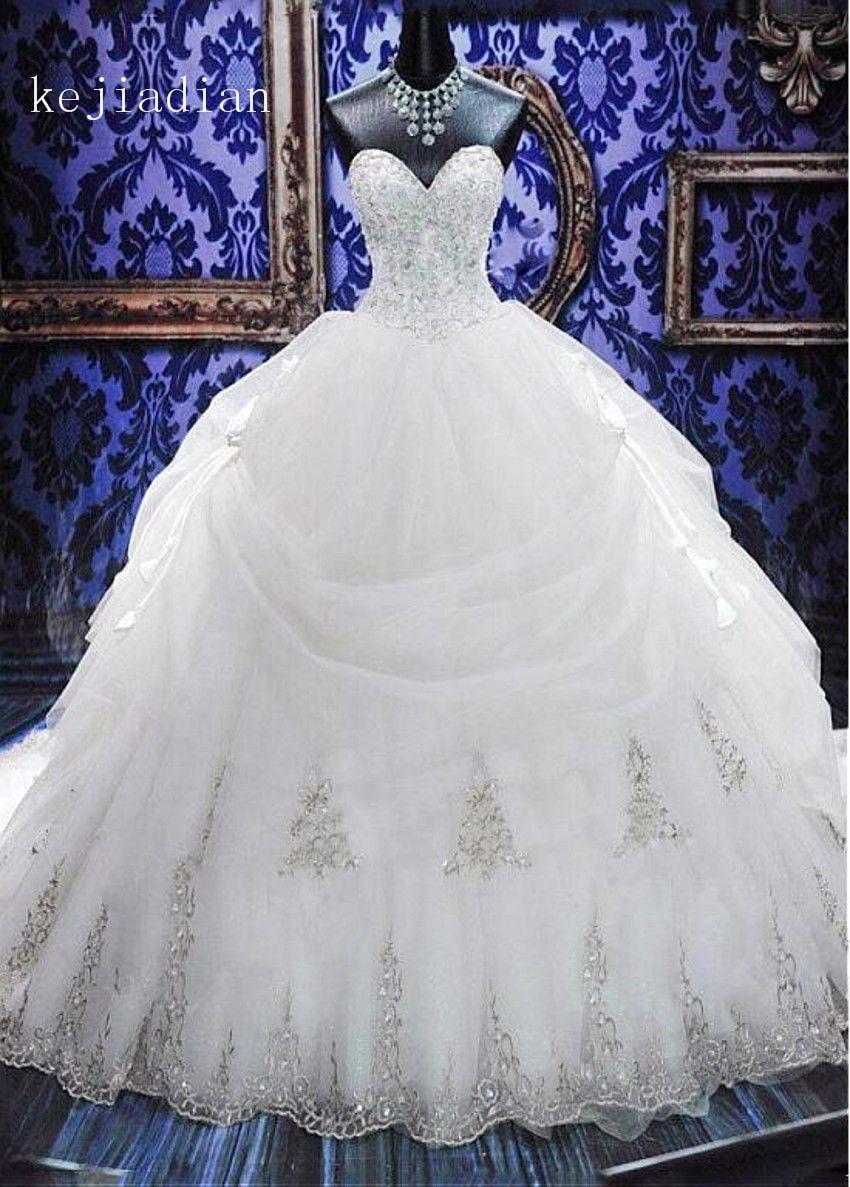 Robe De Mariage 2019 Luxury Beading Crystal Sweetheart Ball Gown Wedding Dress White Ivory Bridal Wedding Gown Vestidos De Noiva