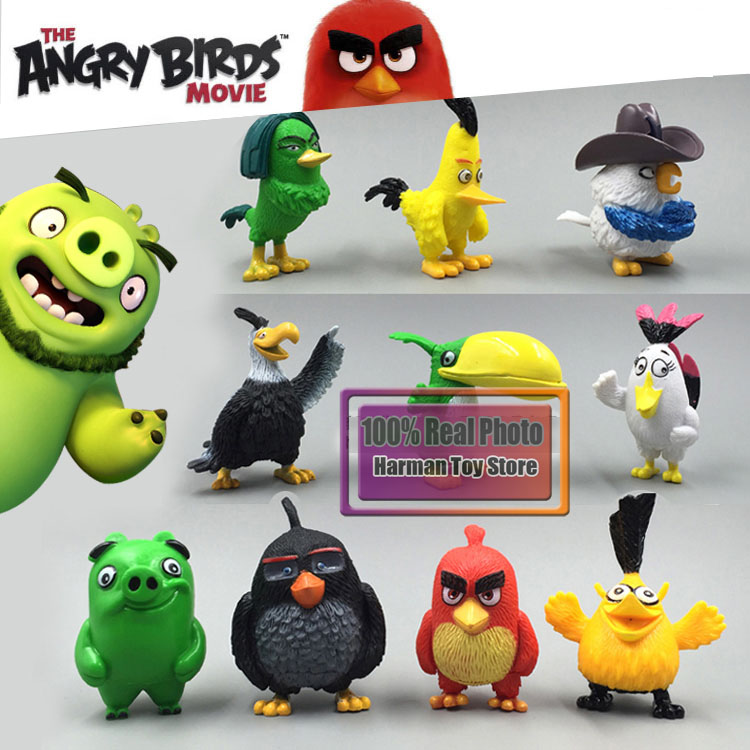 5cm High quality 2016 New 10pcs/lot Anime Movie Bird & Pig Action Figure Kids Toys Cute Colorful Birds Plastic Action Figure