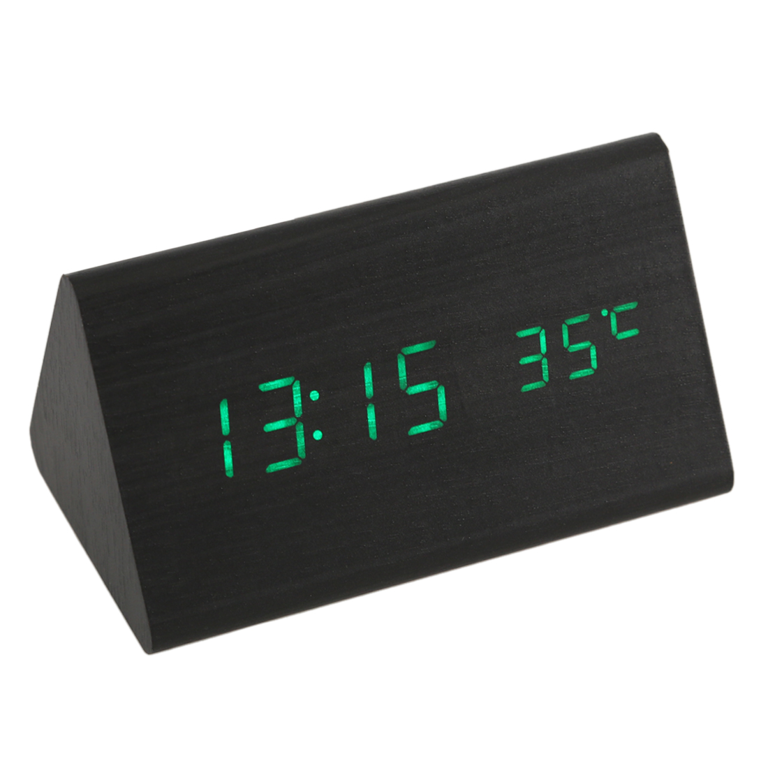 [Voice Control Calendar Thermometer] Wood Wooden LED Digital Alarm Clock USB/AAA Black Wood Green LED