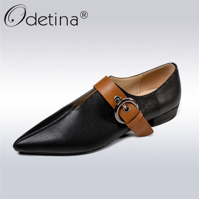 Odetina 2018 New Fashion Genuine Leather Pumps For Women Buckle Strap Square Heel Shoes Lady Casual Pointed Toe Low Heels Pumps odetina 2018 new fashion women wedges pumps women comfort hidden heel casual hook