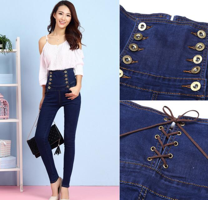 S 6XL Plus Size Full Length Jeans Pants Women Spring Autumn Thin Waist Denim Trousers Skinny