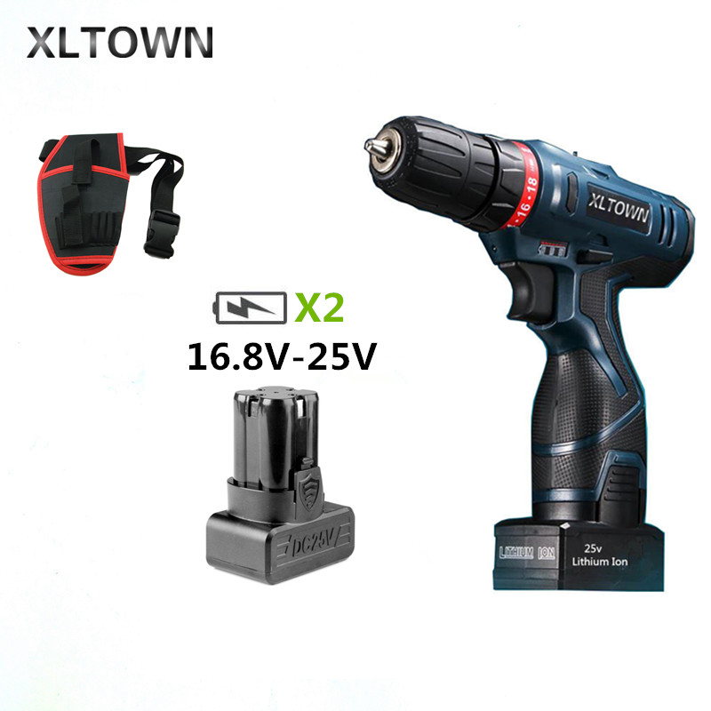 Xltown 25v Cordless Electric  Drill MultiAction Lithium Battery Rechargeable Electric Screwdriver with 2 battery Home Power ToolXltown 25v Cordless Electric  Drill MultiAction Lithium Battery Rechargeable Electric Screwdriver with 2 battery Home Power Tool