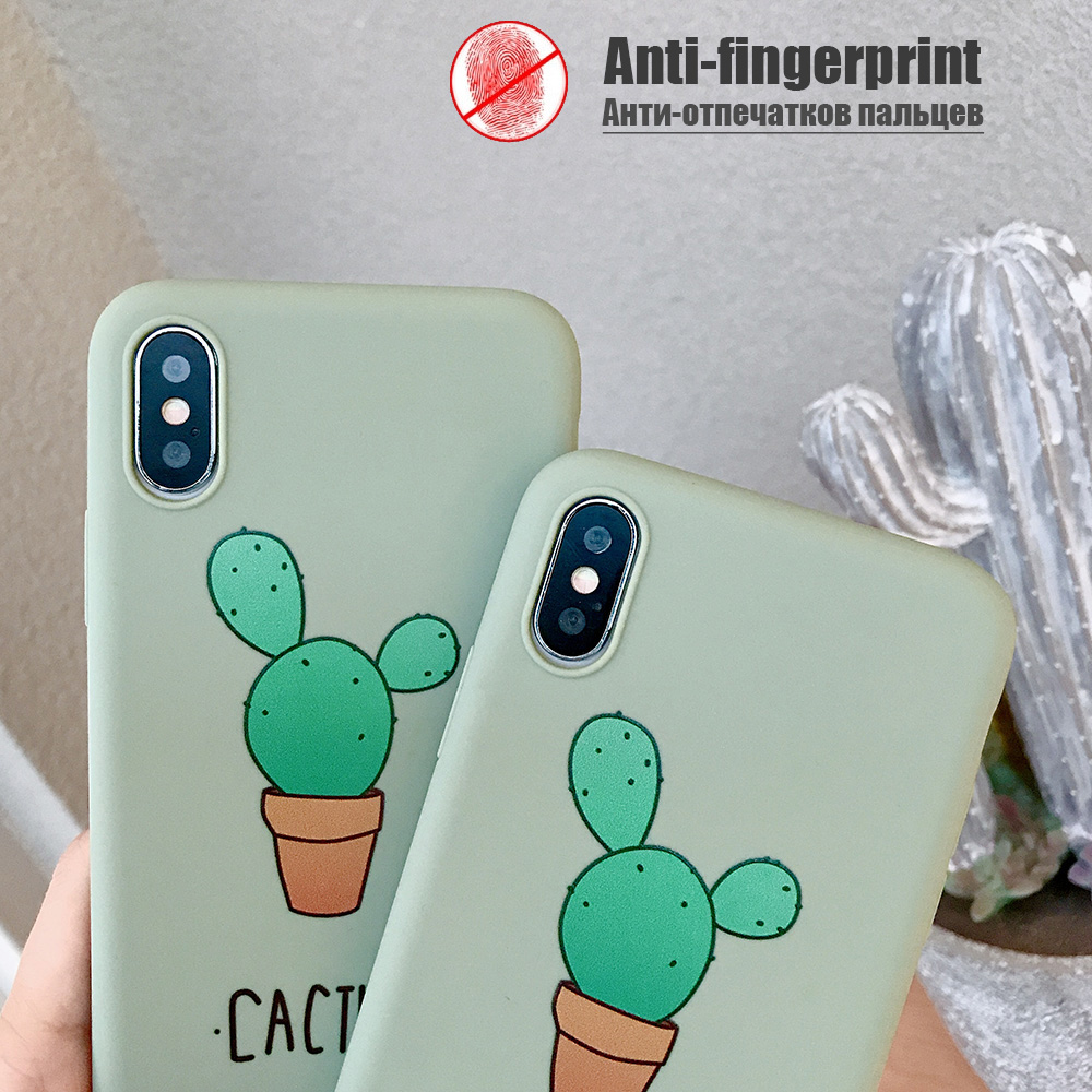 KIPX1074_4_JONSNOW Cactus Pattern Case for iPhone 6S 6P 7 8 Plus Soft Silicone Case for iPhone X XR XS Max Cartoon Painted Back Cover Capa Coque Fundas