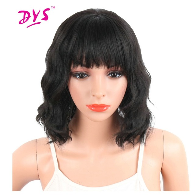 Deyngs Pixie Cut Sintetis Wig dengan Poni untuk Wanita Hitam Pendek  Bergelombang Rambut Wanita Wig Alami 0226f44a02