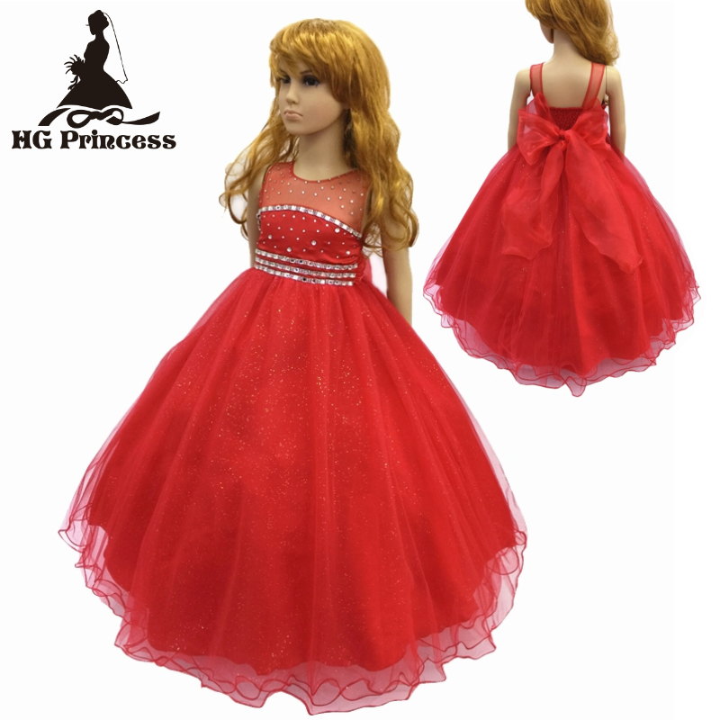 Free Shipping Cotton Lining 2- 12 Years Girl Party Dresses 2017 New Arrival Red Girl Dress Tulle Kids Evening Gowns With Bustle