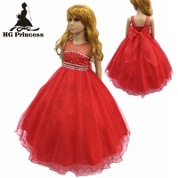 Free Shipping Cotton Lining 2 12 Years Girl Party Dresses 2017 New Arrival Red Girl Dress Tulle Kids Evening Gowns With Bustle