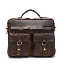Купить с кэшбэком 2016Vintage Bag First Layer Genuine Leather Men Briefcase Cowhide Portfolios Messenger Bags Business Men's Travel Bags #vp-j7026