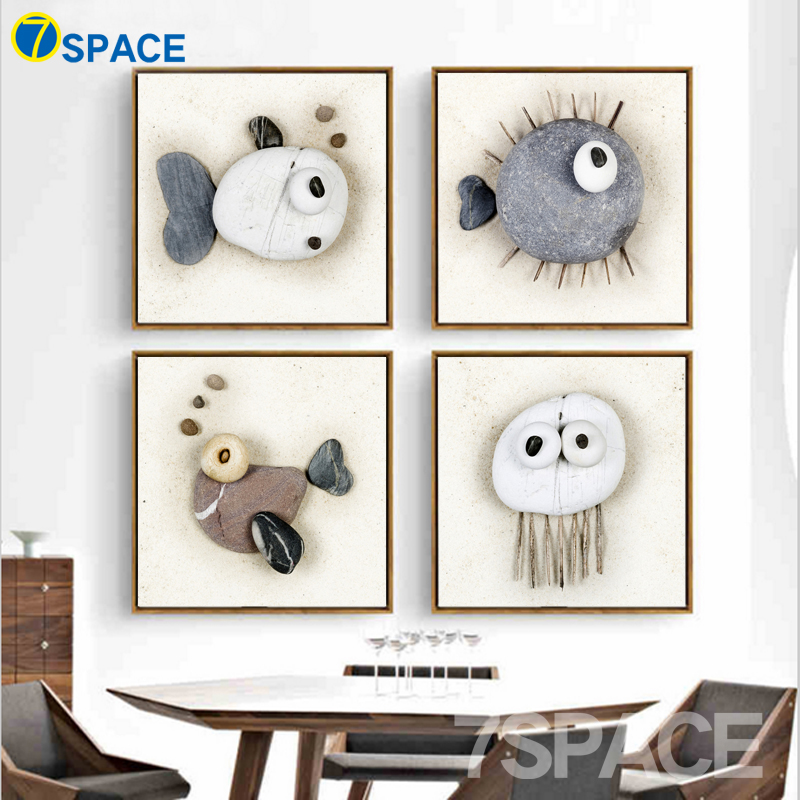 7-Space Stone Animal Molding Decorative Pictures Wall Art Painting Nordic Art Print Poster Wall Pictures For Living Room Decor