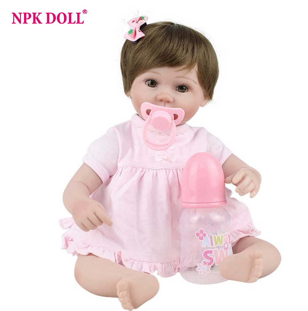 45cm Silicone Dolls Reborn Soft Body Baby Girl Doll Vinyl Newborn Dolls Brinquedos Bebe Reborn menina de silicone Gift 22inchs soft silicone reborn baby doll handmade clothes little girl doll reborn brinquedos early education reborn baby dolls