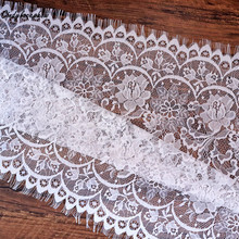 Cindylaceshow 3 meters 50cm Width White Black Eyelash Lace Trimmings Womens Dress Fabcis Sewing Applique Costume Design