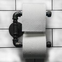 الحضرية الصناعية نمط حامل شماعات الأنسجة لفة ورق الحمام منشفة رف الحديد جدار جبل مزدوجة المرحاض لفة حامل الباب