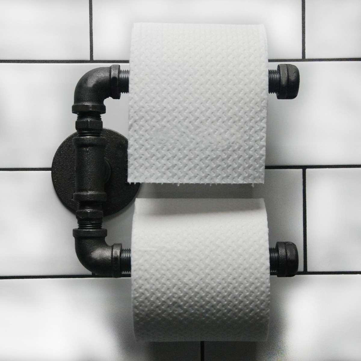 Urban Industrial Style Bathroom Paper Holder Hanger Tissue Roll Towel Rack Iron Wall Mount
