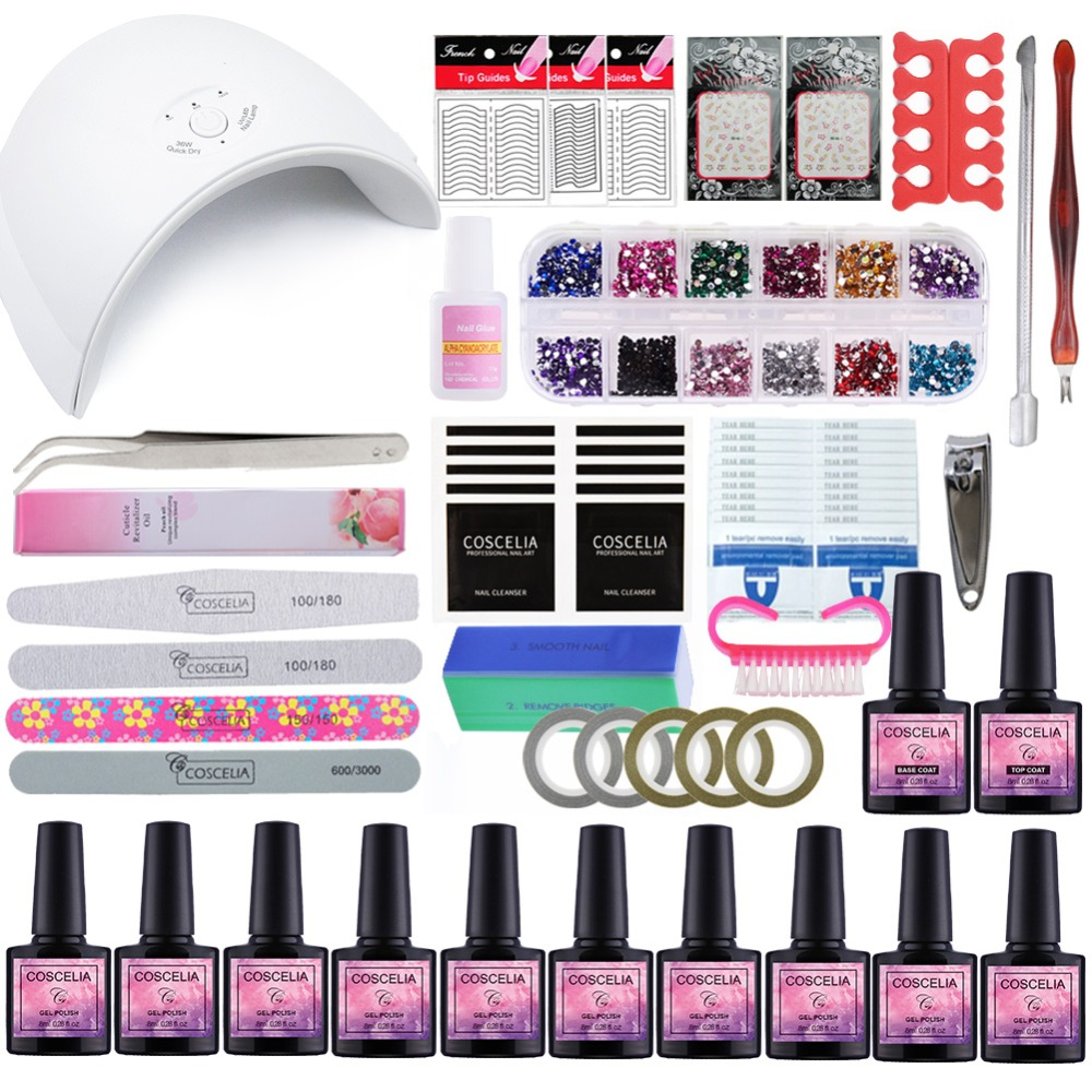 Manicure Set Dryer Lamp For Nails Set For Gel Nail Polish Set For Manicure Nail Extension Set 10 Colors Gel Varnish 8 ML m theory nails wraps stickers eastern plum flower 3d nails arts polish sticker gel varnish decals manicure decorations