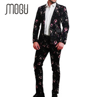 MOGU 2017 New Two Piece Men Suits Floral Print Cotton Fabric Men Suits Slim Fit Fashion Stylish Suits in Mens Clothing