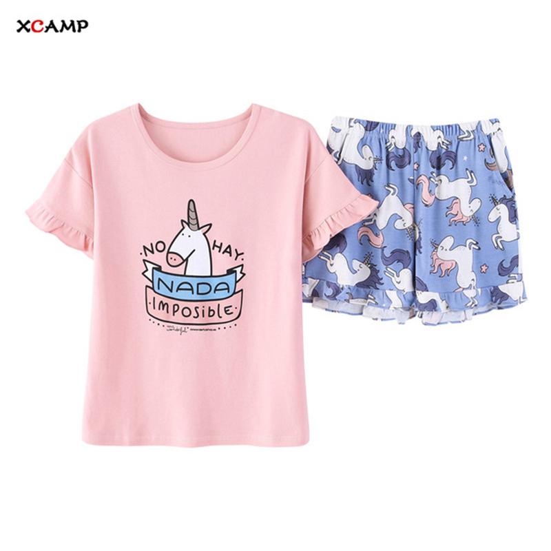 XCAMP Women Sleepwear 2019 New Arrivals Two Pieces Sweet Unicorn Pajamas Cotton Summer Clothes For Women Fashion Clothes