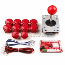 Discount! Newest! Red or Black Arcade Game Machine DIY Parts for 1 Palyer: Zero Delay USB Encoder+Joysticks+Push Buttons+Cables
