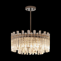 Modern Round LED Light Chandelier Luxury Clear Crystal Lampshade Lamp For Living Room Lighting Chandeliers Ceiling Fixtures