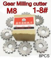 M8 Modulus PA20 graden NO.1-NO.8 8 stks/set HSS Versnelling frees Gear snijgereedschap Gratis verzending