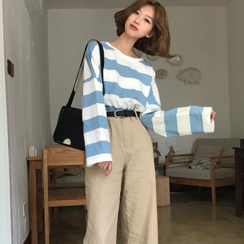 HTB1pbt7PAvoK1RjSZFDq6xY3pXae - Women T-Shirts Women's Casual  Striped Print  O Neck Long Sleeve