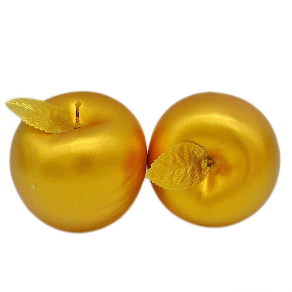 2Pcs Golden Apple Artificial Fruit Gold Mold Ornament Simulation Food Model For DIY Crafts Photography Props Symbol Of Love