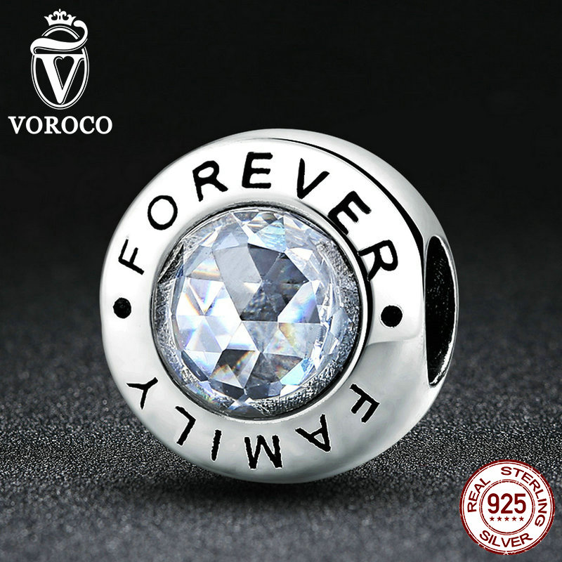 VOROCO New Arrival Classic 925 Sterling Silver Family Forever Clear CZ Bead Charm Fit VRC Bracelets