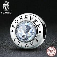 VOROCO Nueva Llegada Classic 925 Familia Siempre, Clear CZ Pulseras de Joyería de Moda Del Encanto Del Grano Fit VRC S378